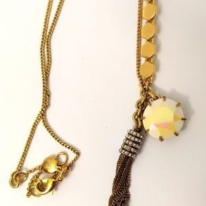 J. Crew Gold Tone LONG Necklace Rhinestones Tassel